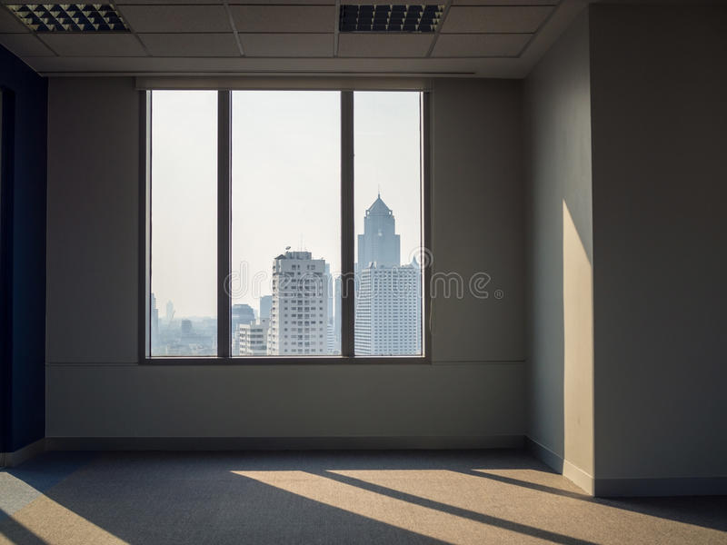 Office windows building view. Office windows, empty work space with building view royalty free stock photography