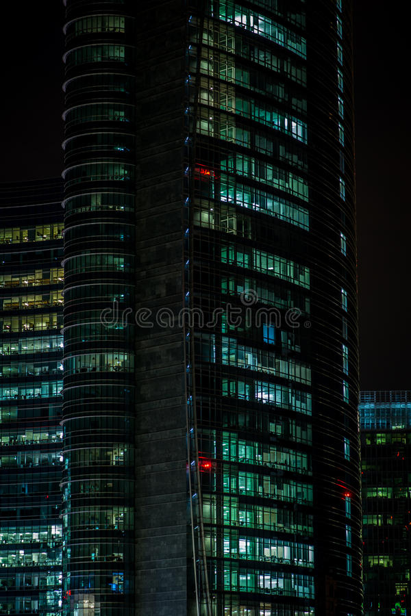 Office windows at night royalty free stock photography
