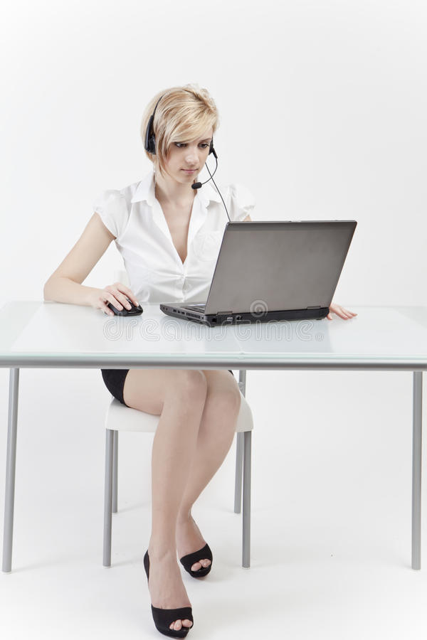 Office woman at her desk royalty free stock images