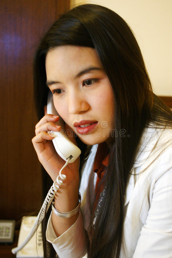 Office woman home phone royalty free stock photo