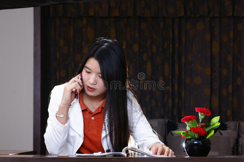 Office woman mobile phone royalty free stock photography