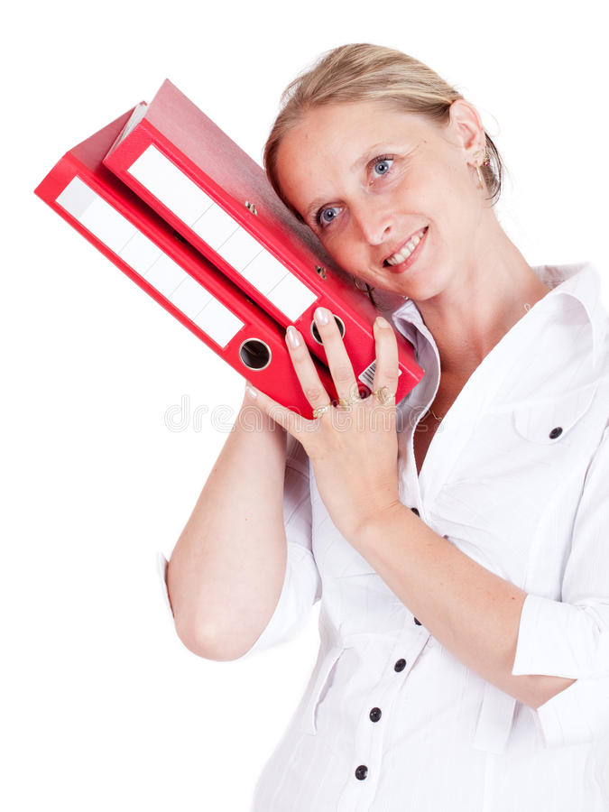 Office woman with red folders. royalty free stock image