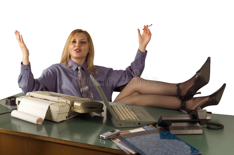 Office woman relaxing stock photos