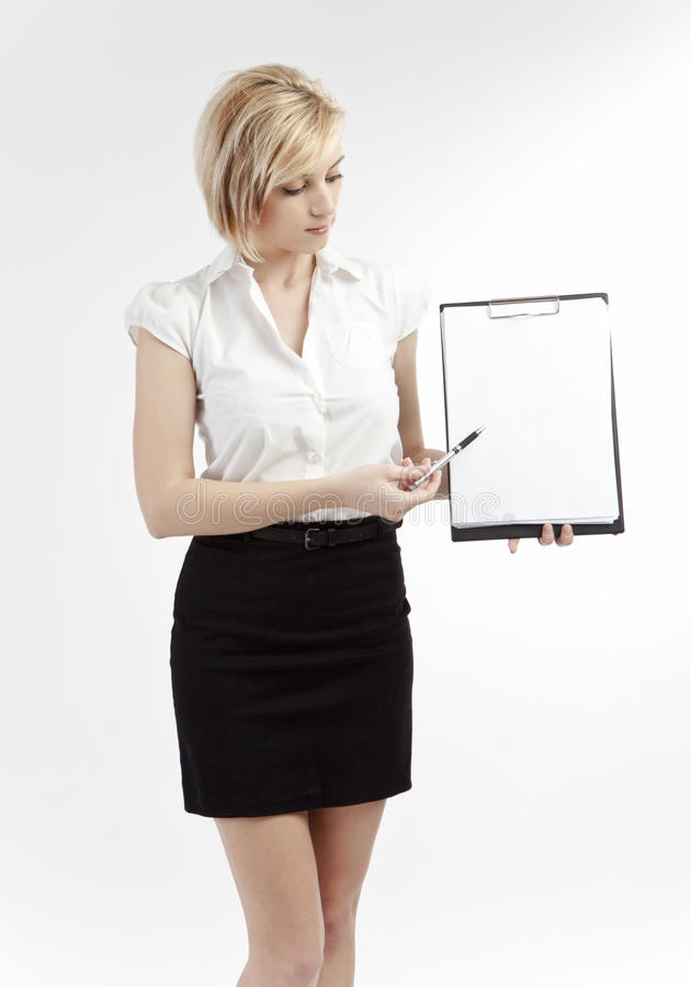 Office woman showing blank clipboard royalty free stock photo