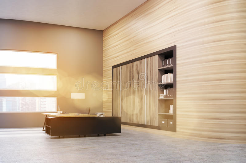 Download Office: Wooden Wall And And Bookcase Stock Illustration - Image: 83722762
