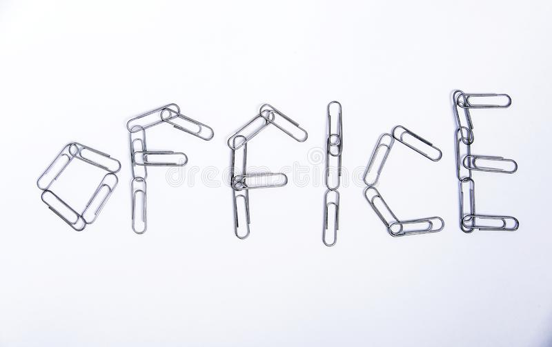 office- word from metal clips stock images