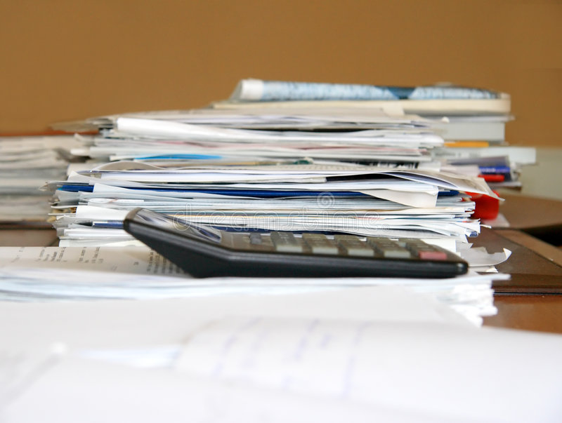 Office work. Papers on table royalty free stock photo