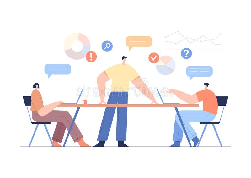 Office work concept, team partnership. Modern businessmen characters, corporate brainstorming, charts and analysing statistics. Office work concept, team vector illustration