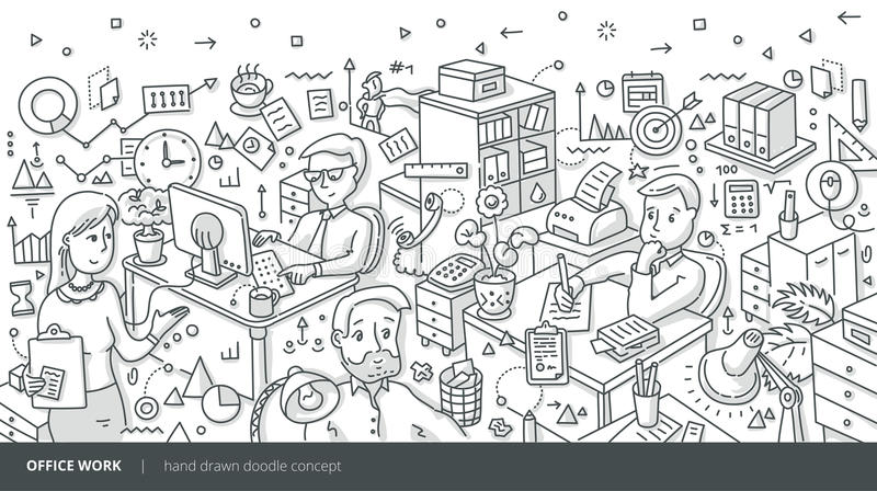 Office Work Isometric Doodle Concept royalty free illustration