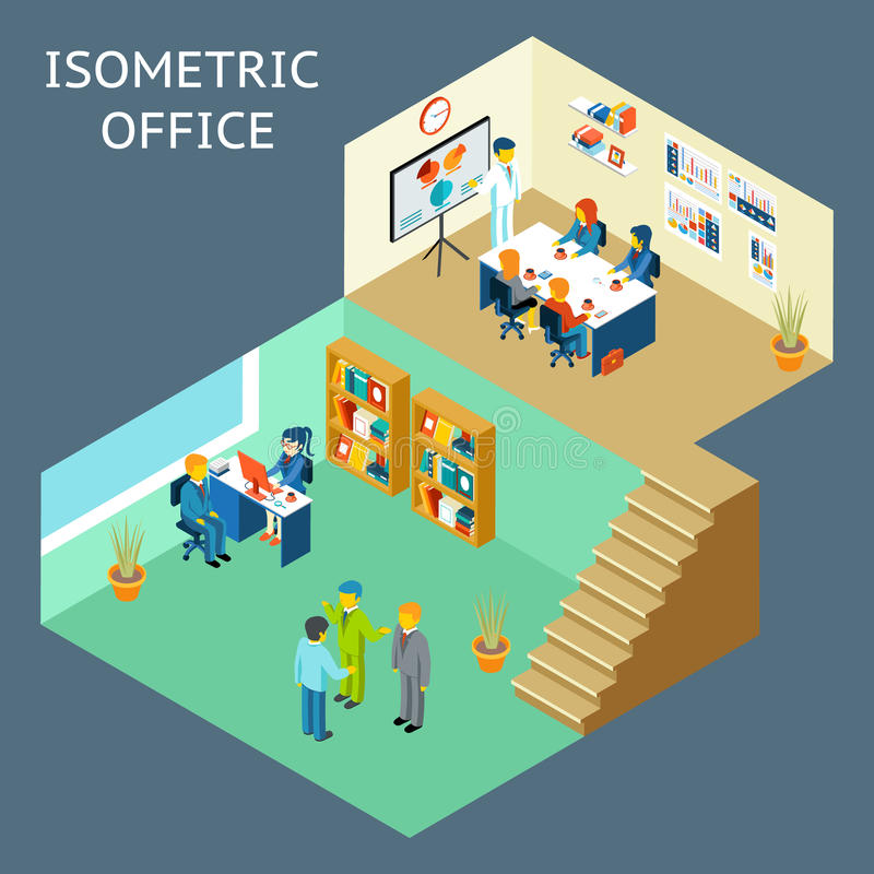 Office work. Isometric flat 3d about office staff royalty free illustration
