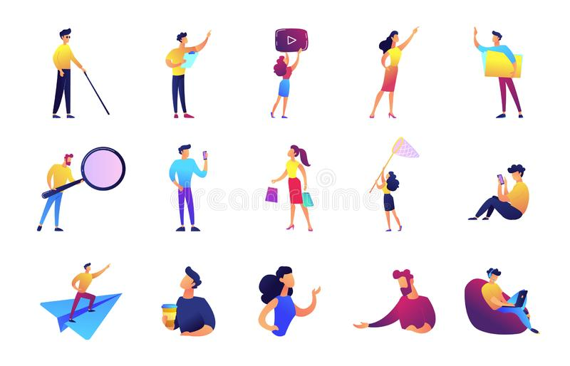 Office work and leisure time vector illustrations set. Office work and leisure time set. Businessman and manager, developer, vlogger, woman with net royalty free illustration