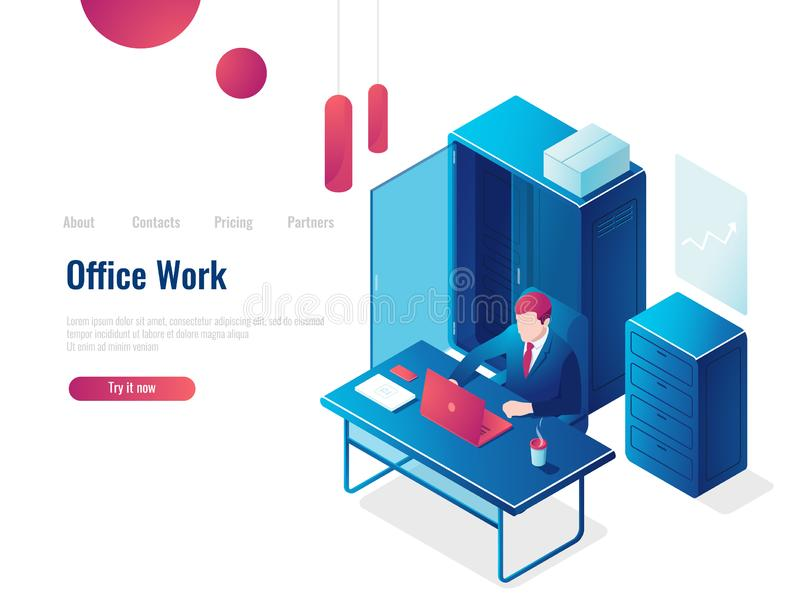 Office work, a man working at a computer, interior, business Analytics and statistics, paperwork people vector stock illustration