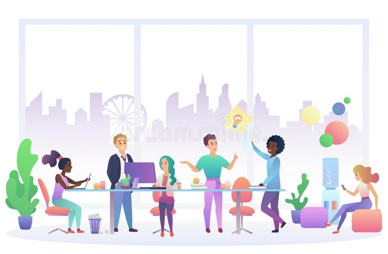 Office work people interior flat vector illustration royalty free illustration