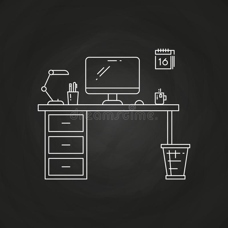 Office work place with table, computer, lamp, calendar royalty free illustration