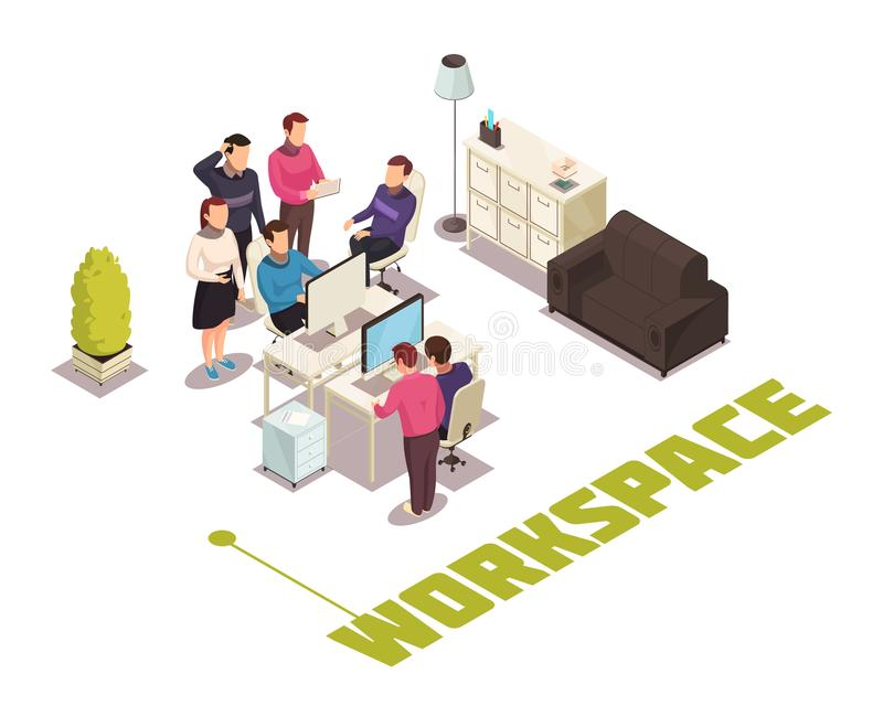 Office Isometric Composition stock illustration