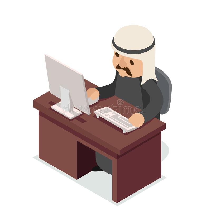 Office work table PC arab businessman traditional national ethnic muslim clothes isometric isolated character flat stock illustration