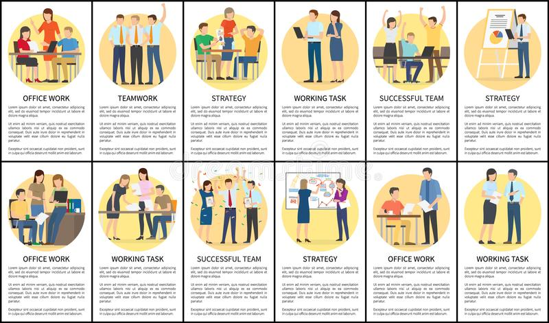 Office Work and Teamwork Set Vector Illustration. Office work and teamwork, strategy and working task posters set text sample and headlines, people at work and royalty free illustration