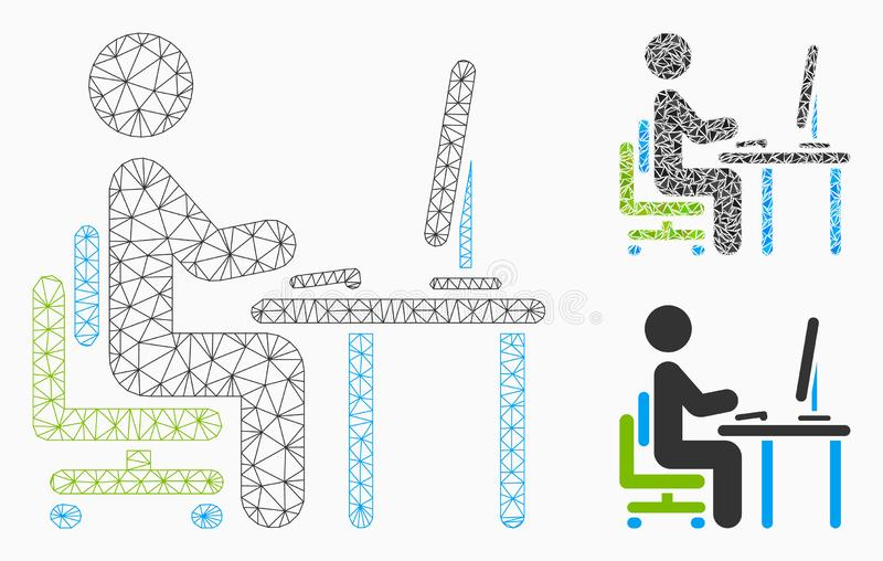 Office Work Vector Mesh Wire Frame Model and Triangle Mosaic Icon vector illustration