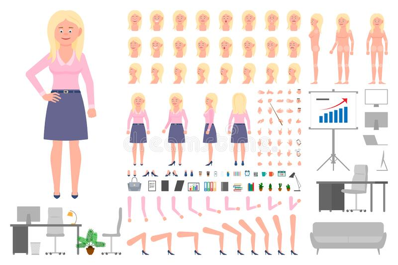 Office worker blonde girl cartoon character body parts creation set. Young woman standing vector constructor illustration. On white stock illustration