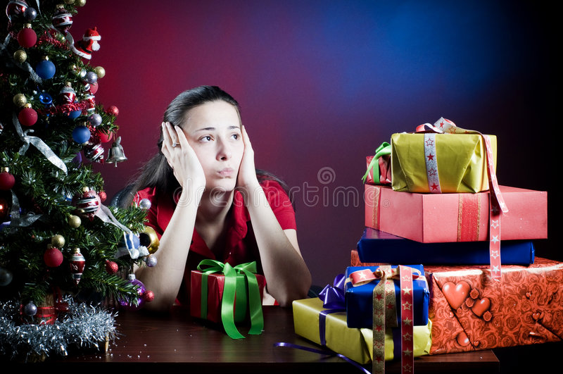 Office worker at Christmas royalty free stock photo