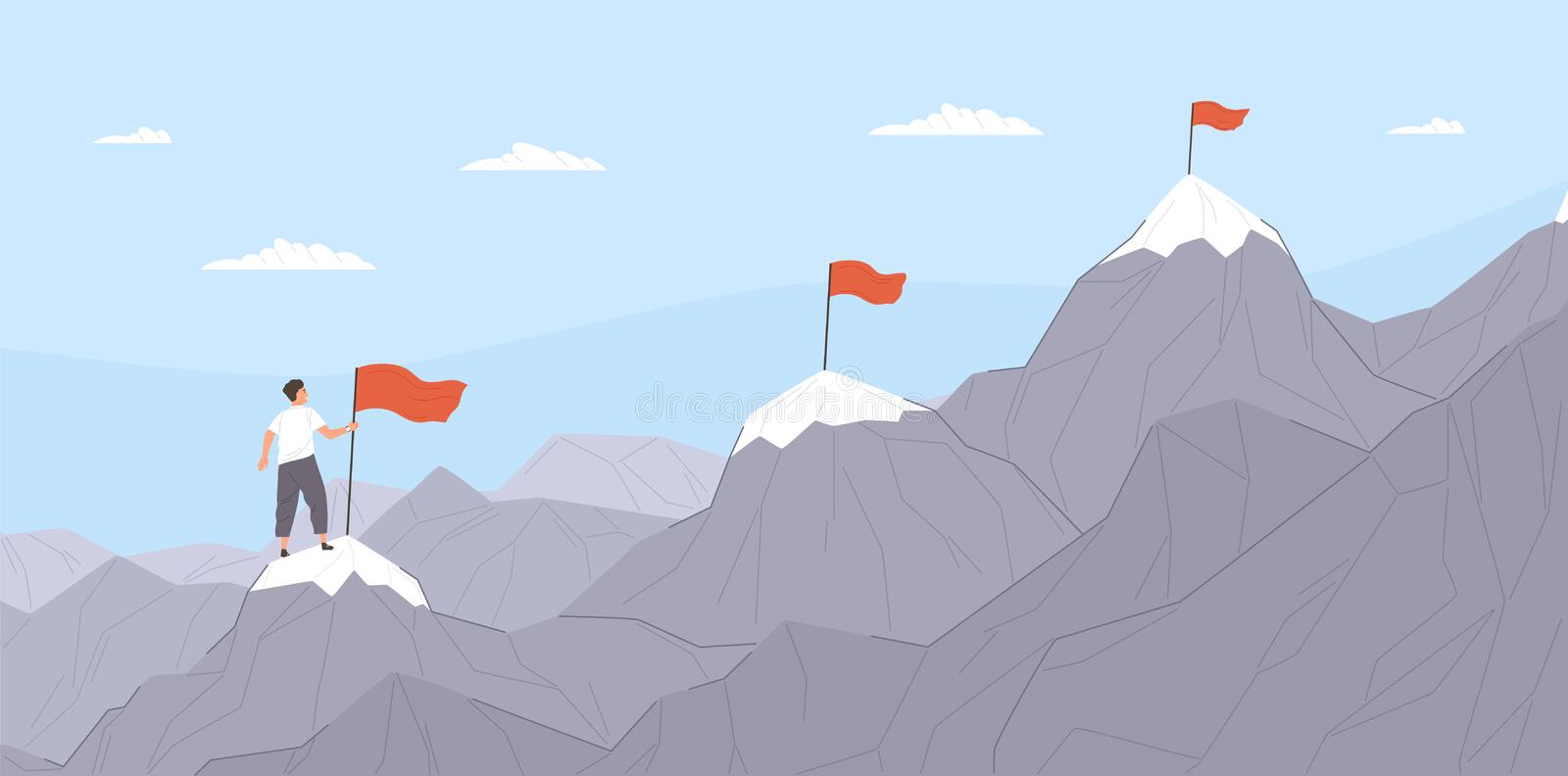 Office worker climbing up mountains or cliffs and moving to final destination point. Concept of gradual business royalty free illustration