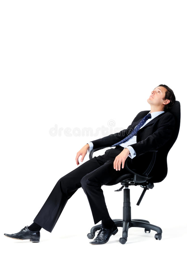 Office worker daydreams. Businessman is distracted while on the job stock photo