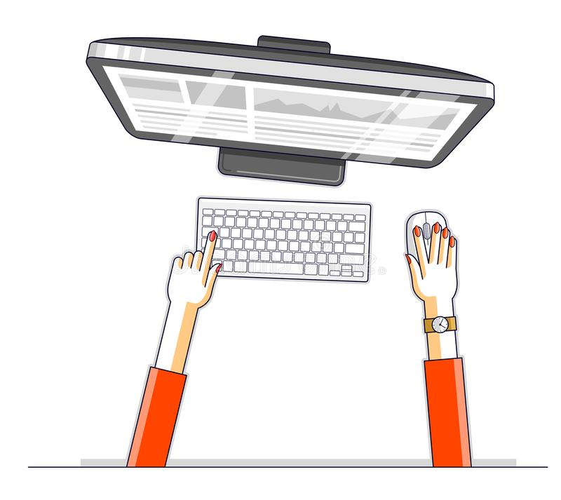 Office worker or entrepreneur business woman working on a PC computer, top view of workspace desk with human hands, overhead look royalty free illustration