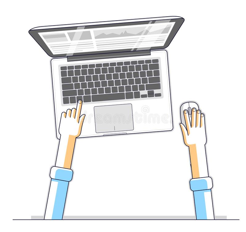 Office worker or entrepreneur businessman working on a PC computer laptop, top view of workspace desk with human hands, overhead. Look. Vector illustration royalty free illustration