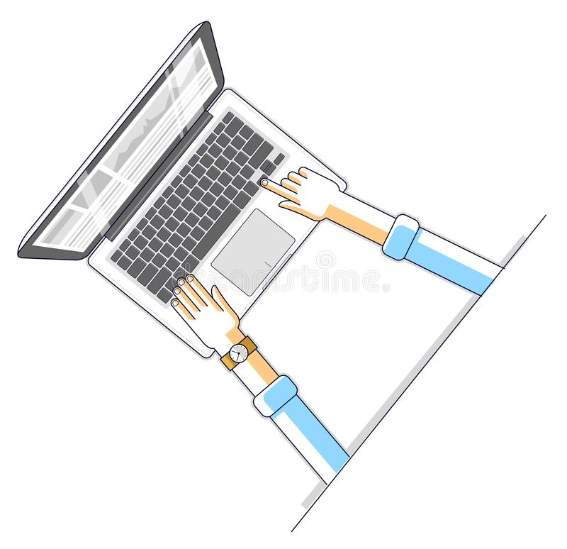 Office worker or entrepreneur businessman working on a PC computer notebook, top view of workspace desk with human. Hands, overhead look. Vector illustration stock illustration