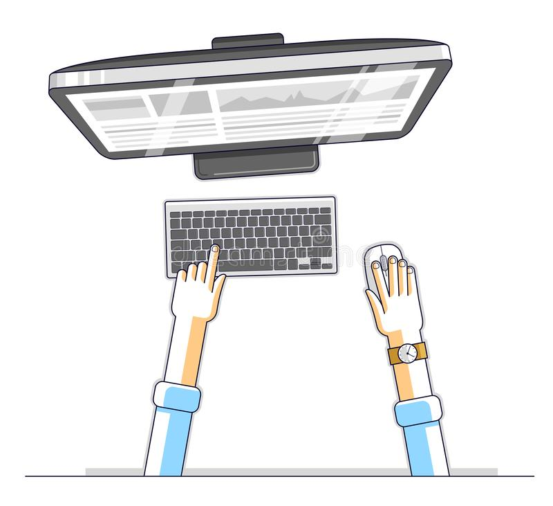 Office worker or entrepreneur businessman working on a PC computer, top view of workspace desk with human hands, overhead look. V. Ector illustration stock illustration