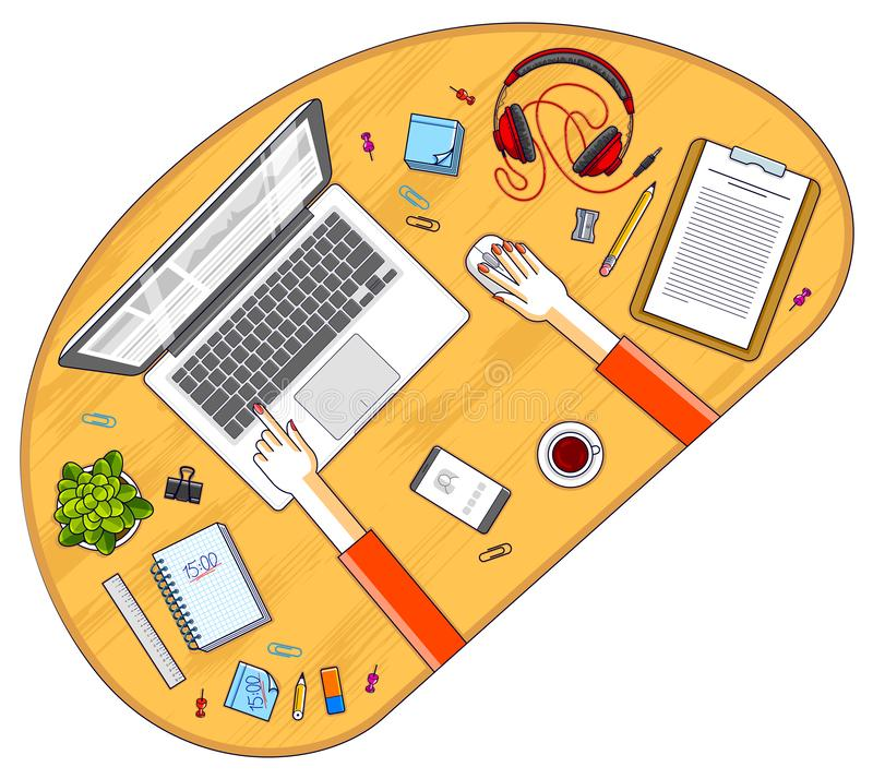 Office worker or entrepreneur working on a laptop computer, top view of workspace desk with human hands and diverse stationery stock illustration
