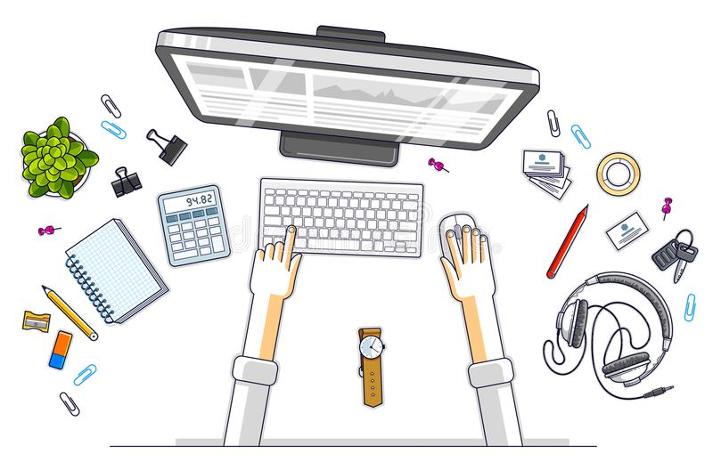 Office worker or entrepreneur working on a PC computer, top view stock illustration