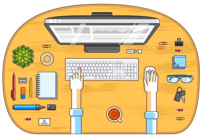 Office worker or entrepreneur working on a PC computer, top view. Of workspace desk with human hands and diverse stationery objects. All elements are easy to stock illustration