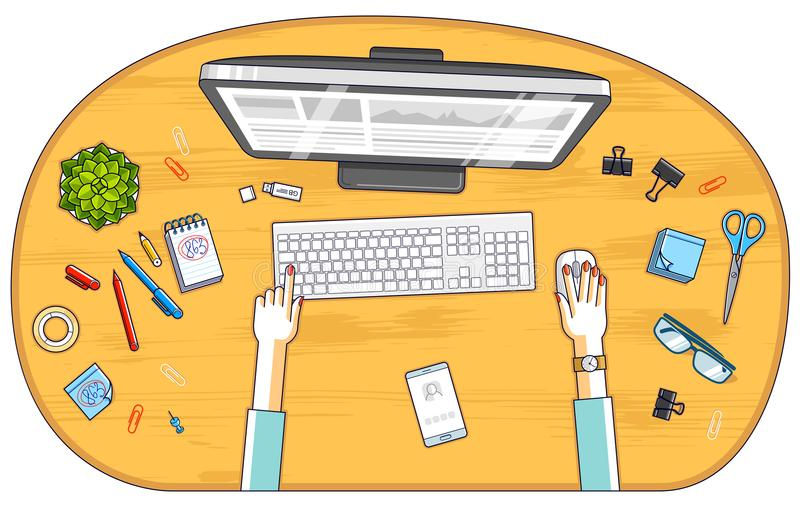 Office worker or entrepreneur working on a PC computer, top view. Of workspace desk with human hands and diverse stationery objects. All elements are easy to royalty free illustration