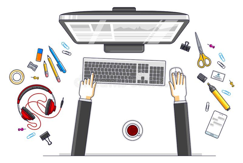 Office worker or entrepreneur working on a PC computer, top view of workspace desk with human hands and diverse stationery objects stock illustration