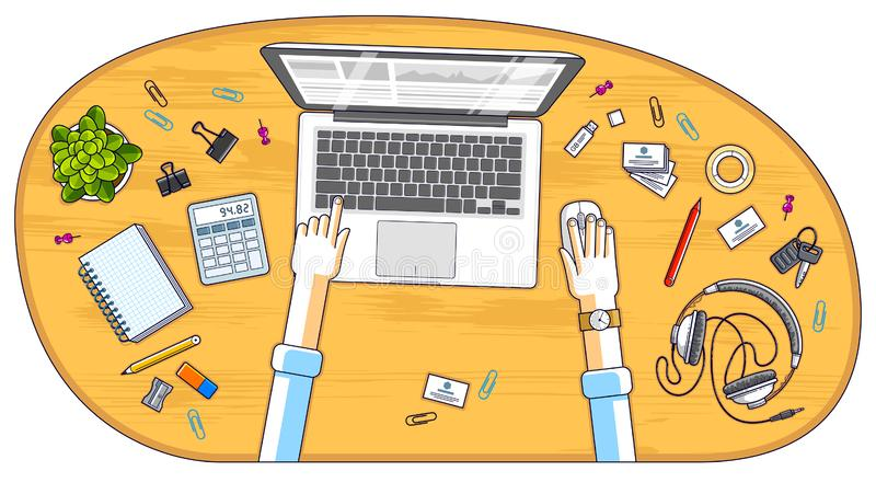 Office worker or entrepreneur working on a PC notebook, top view stock illustration