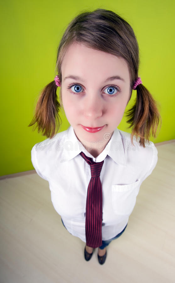 Office worker. Fish-eye lens used. stock images