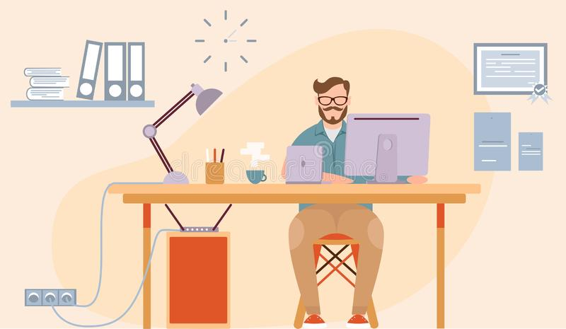 Office worker in a flat design. Business people.Vector illustration. Man sitting and working working. Office room view. Flat royalty free stock image
