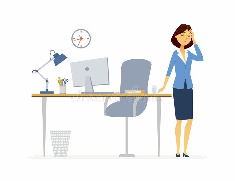Office worker with a headache - cartoon people characters isolated illustration vector illustration