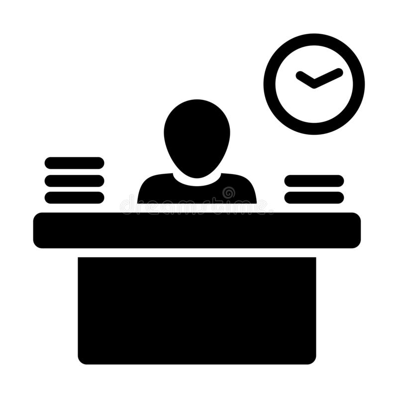 Office Worker Icon Person Working on Desk with files and books in Glyph Pictogram royalty free illustration
