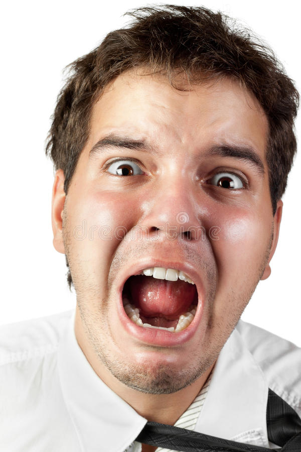 Office worker mad by stress screaming isolated royalty free stock image
