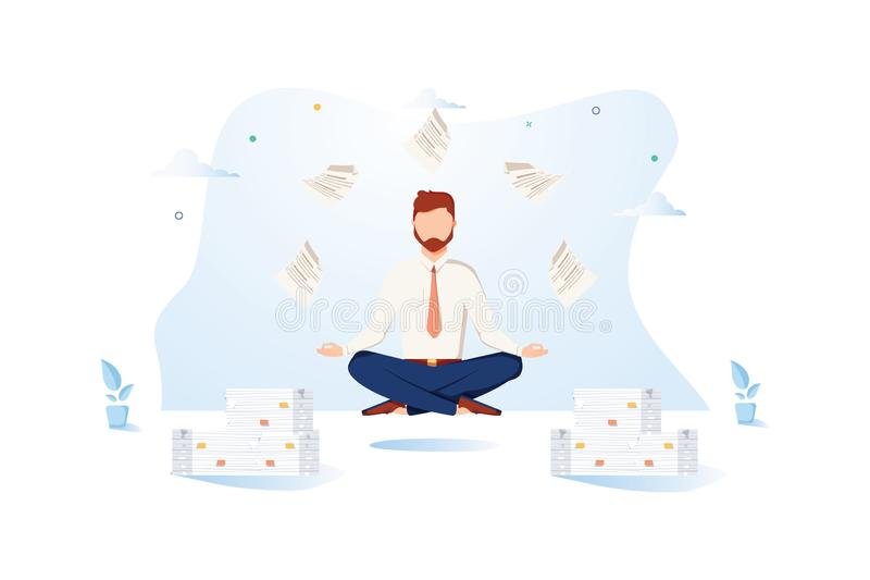 Office Worker Meditating Flat Vector Illustration. Calm, Relaxed Businessman in Yoga Pose. Procrastination Cartoon stock illustration