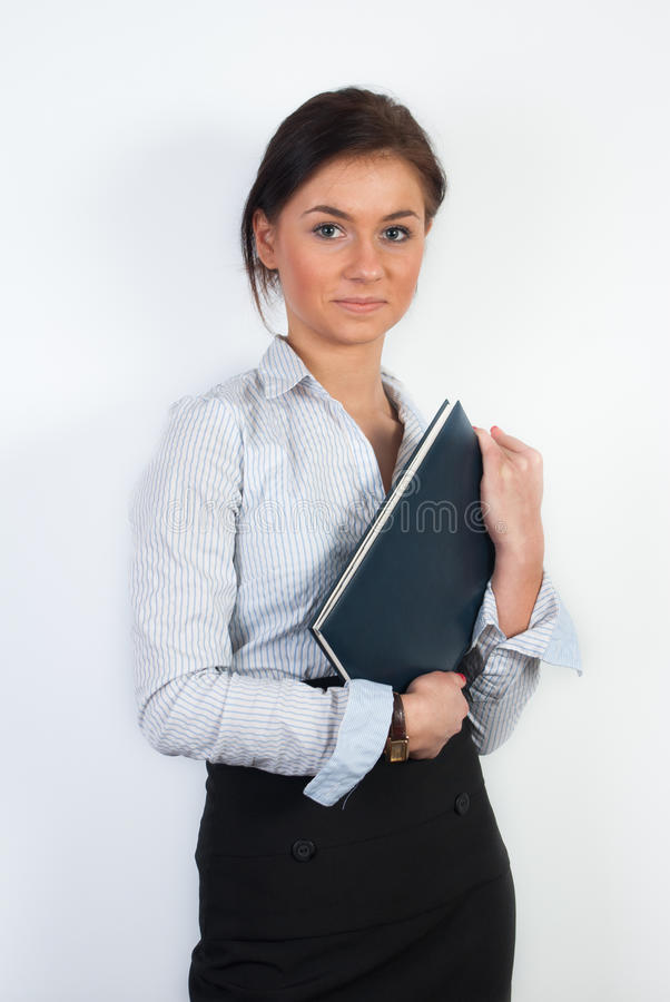 Office worker with notebook royalty free stock photo