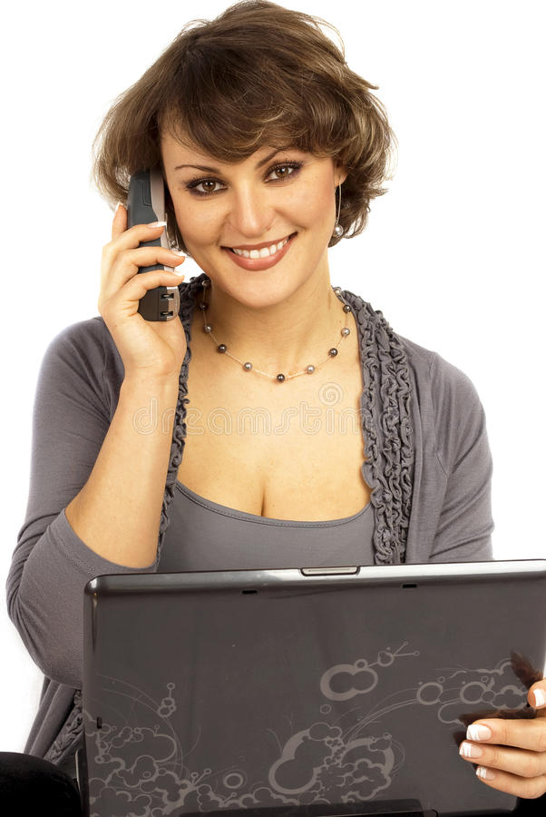 Free Office Worker On Phone With Computer Royalty Free Stock Image - 18383706