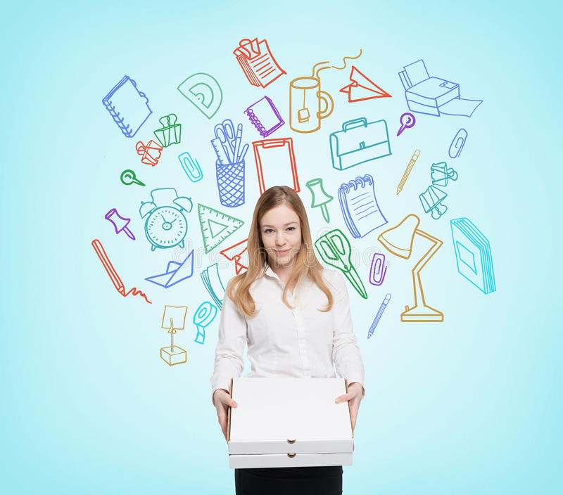 Office worker with pizza royalty free stock photos