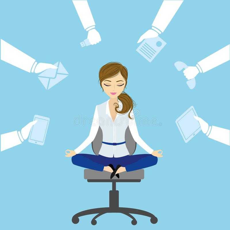 Office worker relaxes and meditates in the lotus position on the. Job, vector illustration vector illustration