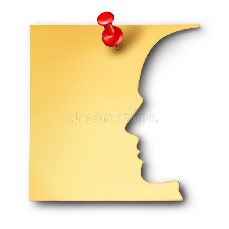 Office Worker Reminder. As an employee symbol cut out of a business note as a corporate career thinking symbol or a mental health icon for memory loss or stock illustration
