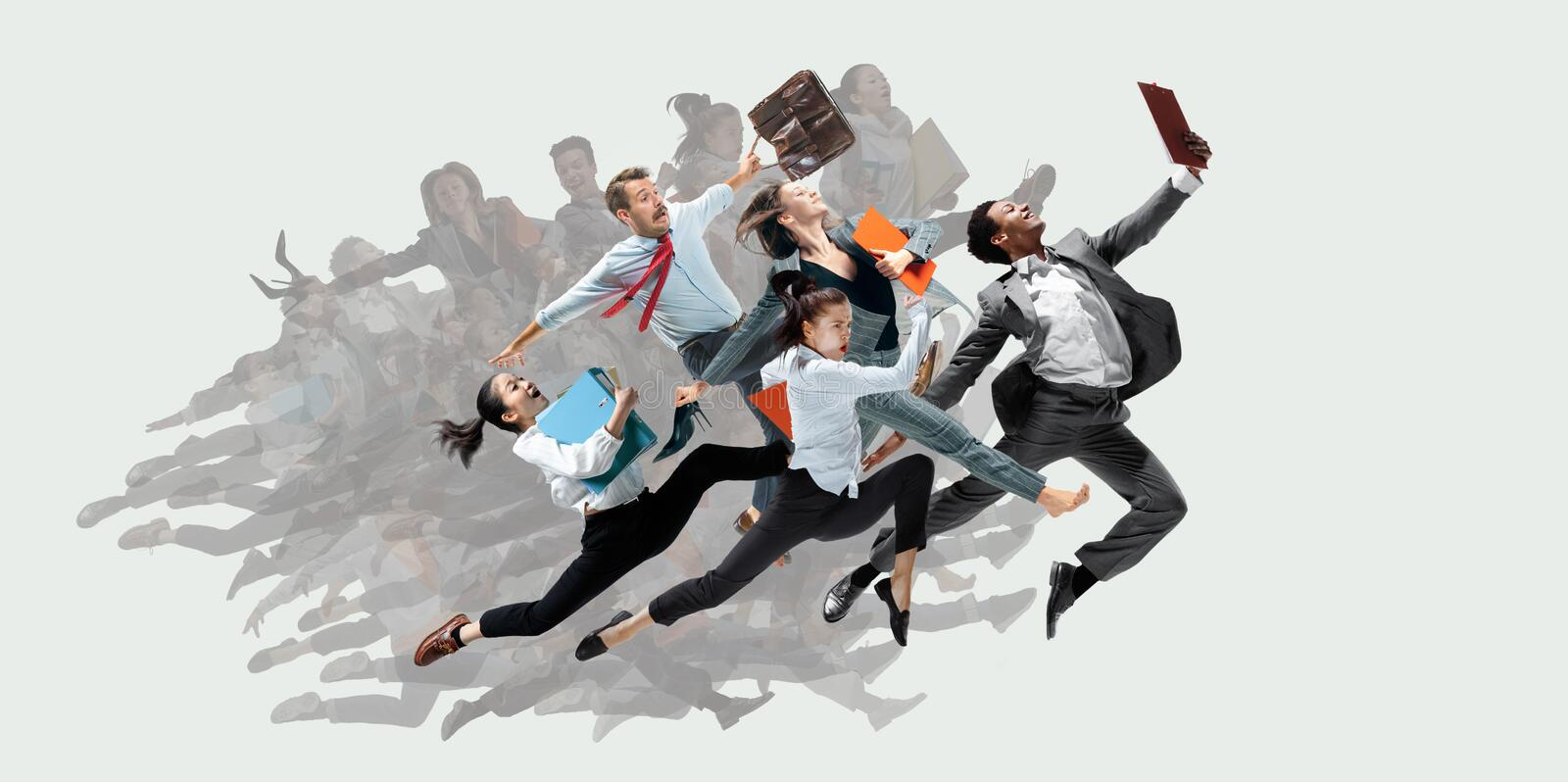 Office worker s or ballet dancers jumping on white background stock photo