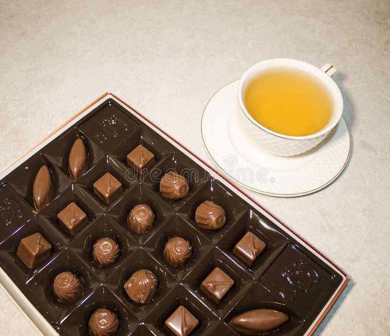 Office worker`s Breakfast  green tea stock photography