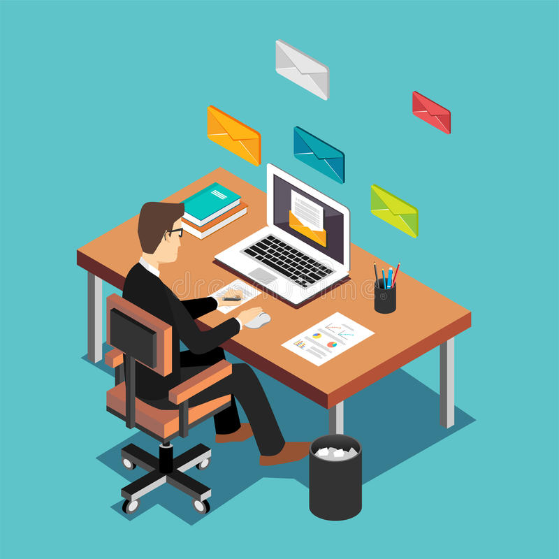 An office worker sending emails and communication with clients. Email marketing concept. Flat 3d isometric technology concep royalty free illustration